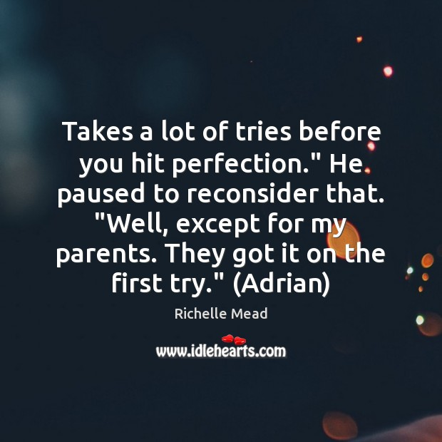 """Takes a lot of tries before you hit perfection."""" He paused to Richelle Mead Picture Quote"""