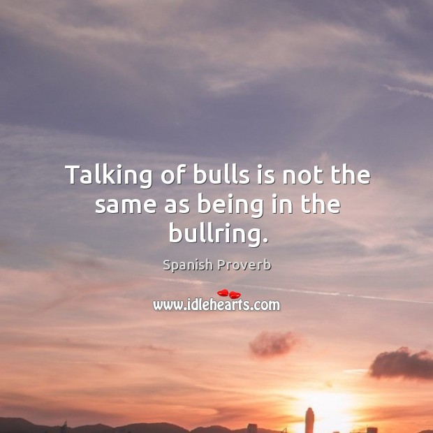 Image, Talking of bulls is not the same as being in the bullring.
