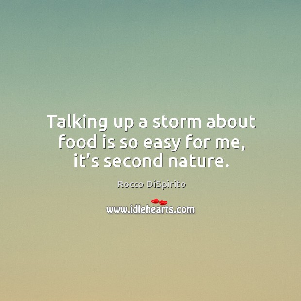 Talking up a storm about food is so easy for me, it's second nature. Image
