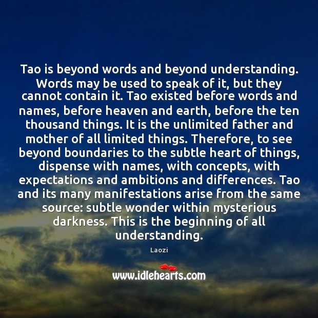 Image, Tao is beyond words and beyond understanding. Words may be used to