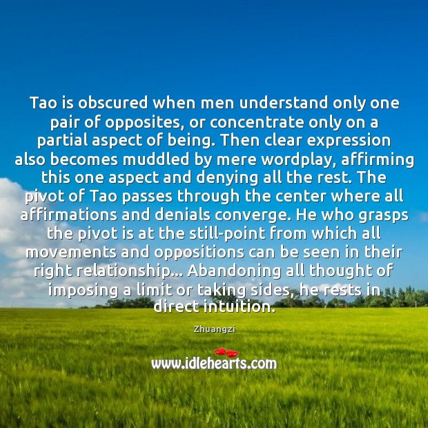 Tao is obscured when men understand only one pair of opposites, or Zhuangzi Picture Quote