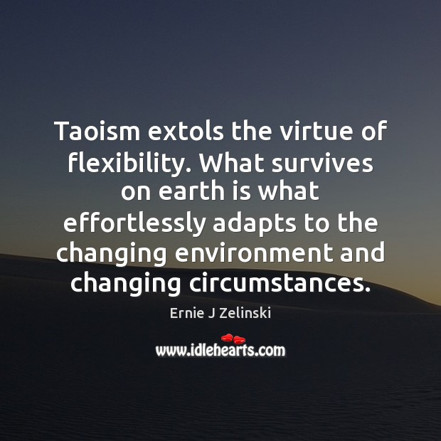 Taoism extols the virtue of flexibility. What survives on earth is what Ernie J Zelinski Picture Quote