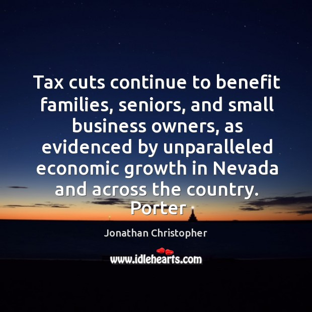 Tax cuts continue to benefit families, seniors, and small business owners Image