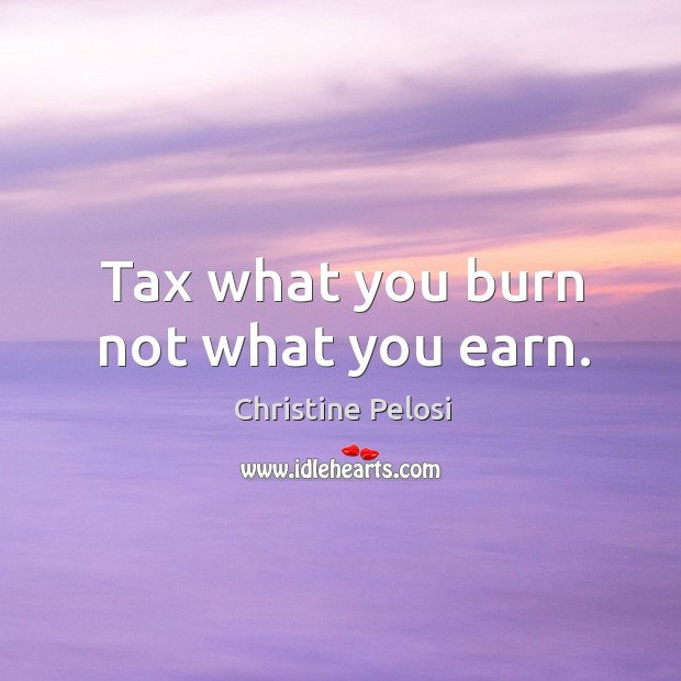 Tax what you burn not what you earn. Christine Pelosi Picture Quote