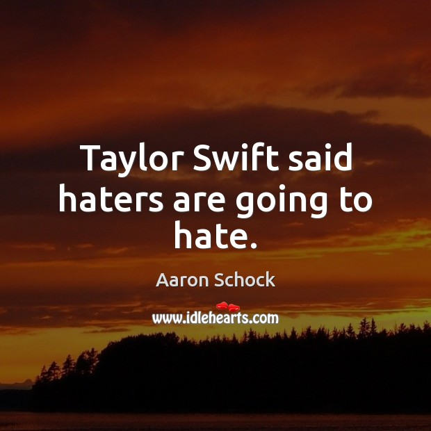 Image, Taylor Swift said haters are going to hate.