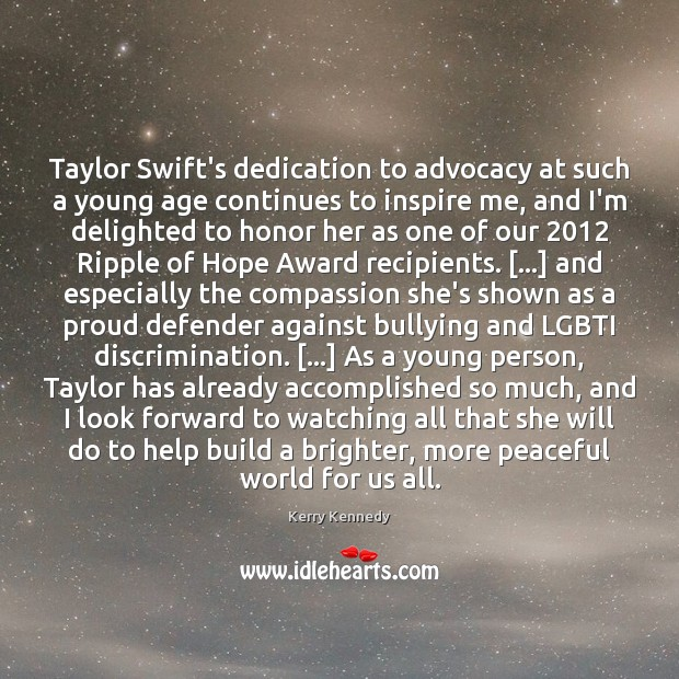 Taylor Swift's dedication to advocacy at such a young age continues to Image