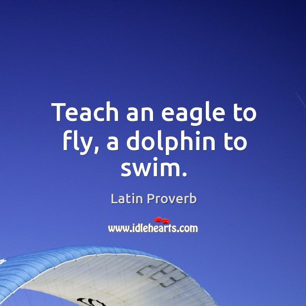 Image, Teach an eagle to fly, a dolphin to swim.