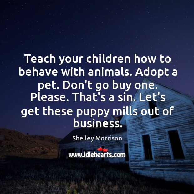 Teach your children how to behave with animals. Adopt a pet. Don't Image