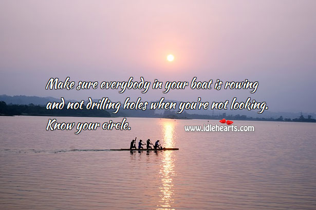 Image, Make sure everybody in your boat is rowing and not drilling holes.