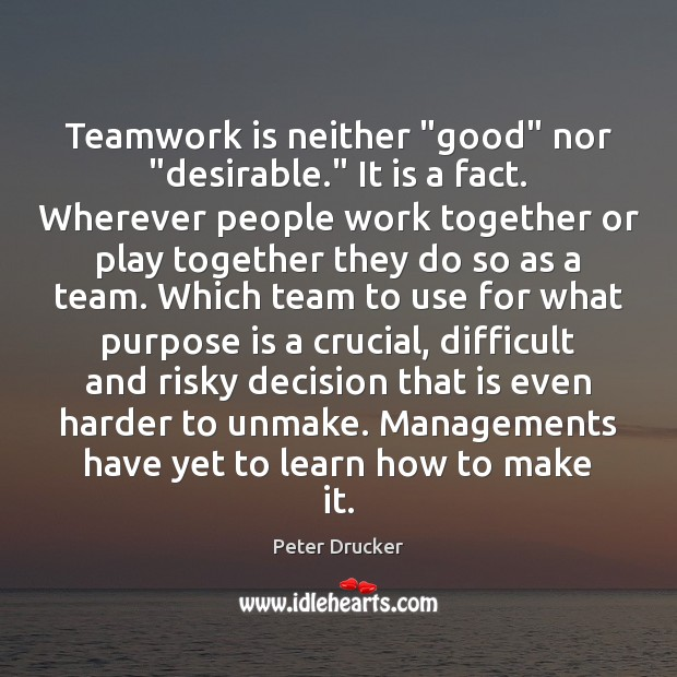 """Teamwork is neither """"good"""" nor """"desirable."""" It is a fact. Wherever people Teamwork Quotes Image"""