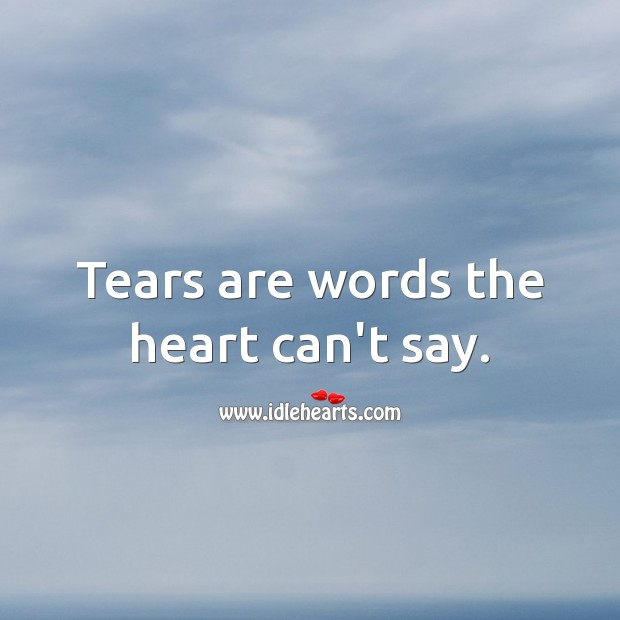 Tears are words the heart can't say. Love Hurts Quotes Image