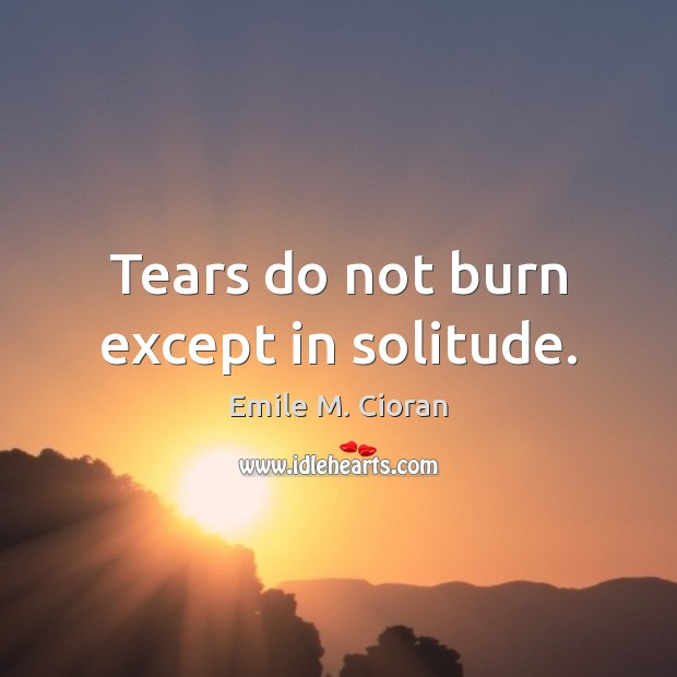 Tears do not burn except in solitude. Image