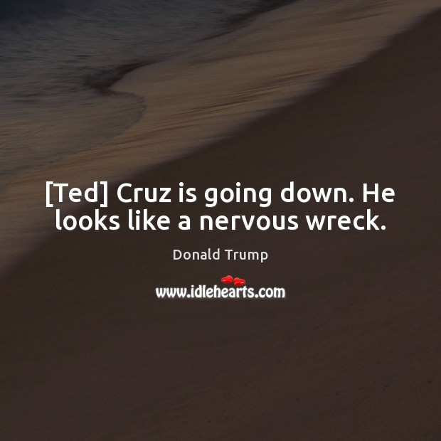 [Ted] Cruz is going down. He looks like a nervous wreck. Donald Trump Picture Quote