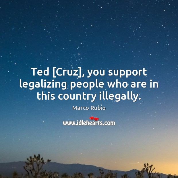 Image, Ted [Cruz], you support legalizing people who are in this country illegally.