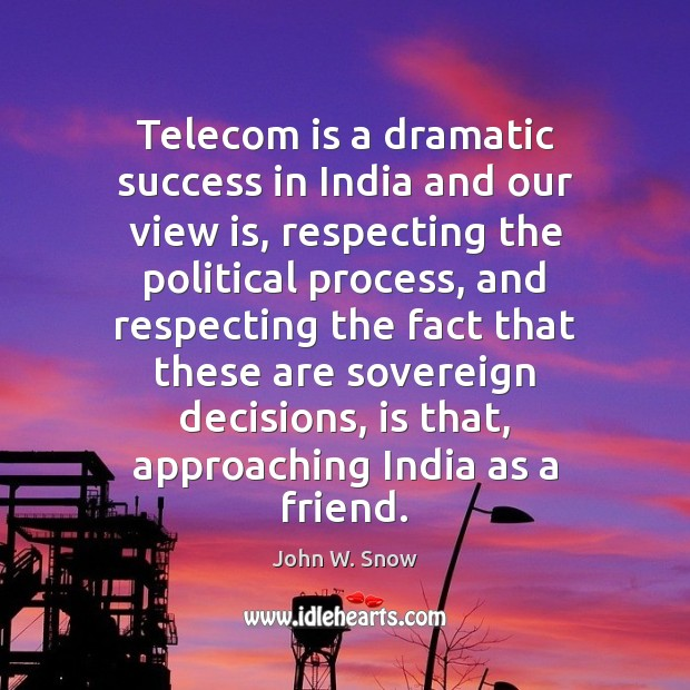 Image, Telecom is a dramatic success in India and our view is, respecting