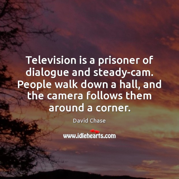 Television is a prisoner of dialogue and steady-cam. People walk down a David Chase Picture Quote