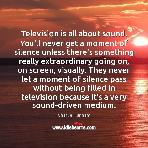 Television is all about sound. You'll never get a moment of silence Television Quotes Image