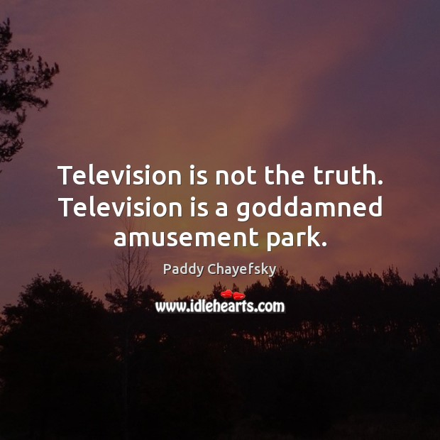 Television is not the truth. Television is a Goddamned amusement park. Paddy Chayefsky Picture Quote