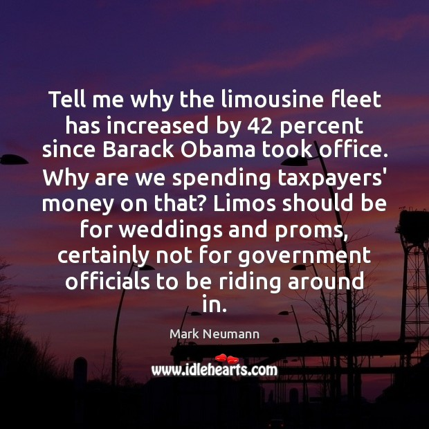 Tell me why the limousine fleet has increased by 42 percent since Barack Image