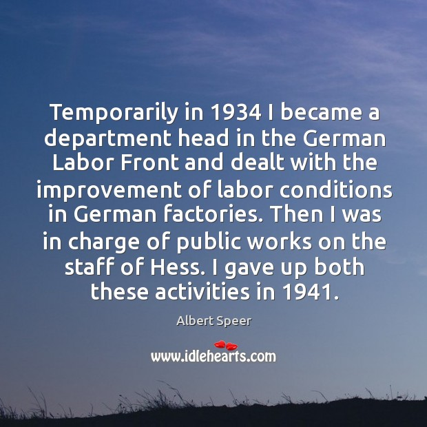 Image, Temporarily in 1934 I became a department head in the german labor front and dealt with the