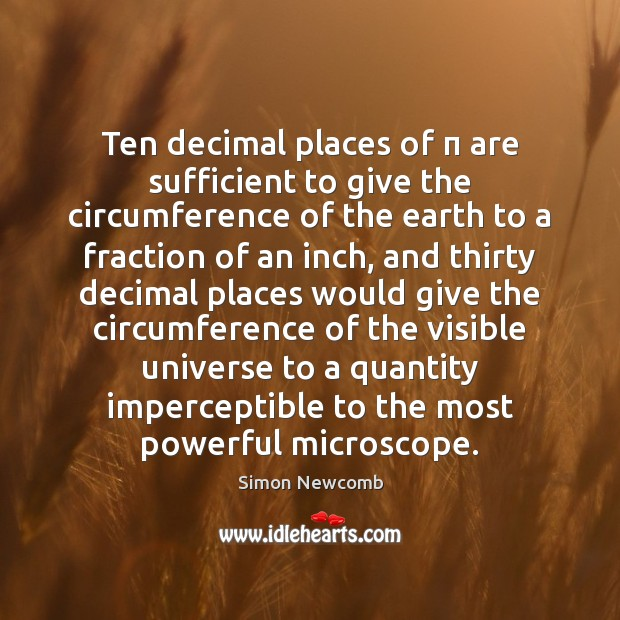 Ten decimal places of π are sufficient to give the circumference of the Image