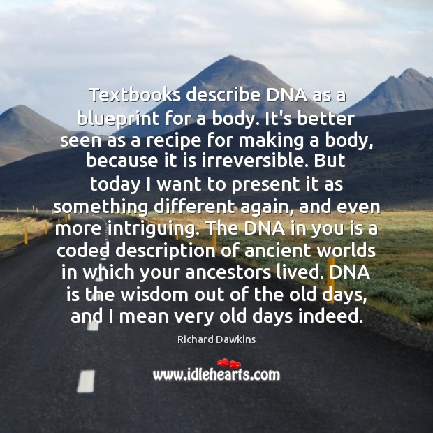 Textbooks describe DNA as a blueprint for a body. It's better seen Image