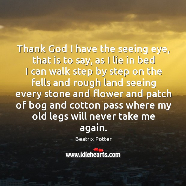 Thank God I have the seeing eye, that is to say Beatrix Potter Picture Quote