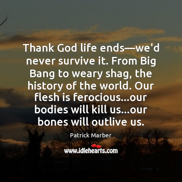 Thank God life ends—we'd never survive it. From Big Bang to Image