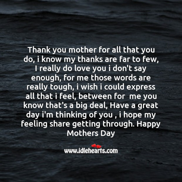 Thank you mother for all that you do Mother's Day Quotes Image