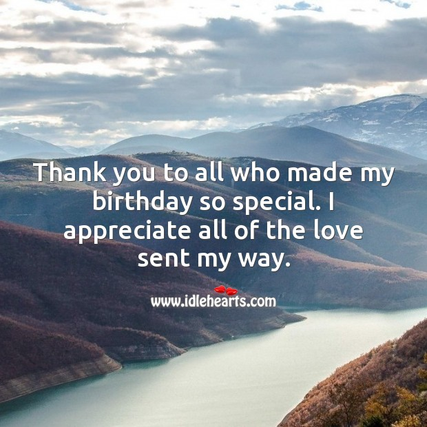 Thank you to all who made my birthday so special. Thank You for Birthday Wishes Image