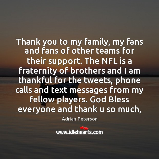Image, Thank you to my family, my fans and fans of other teams