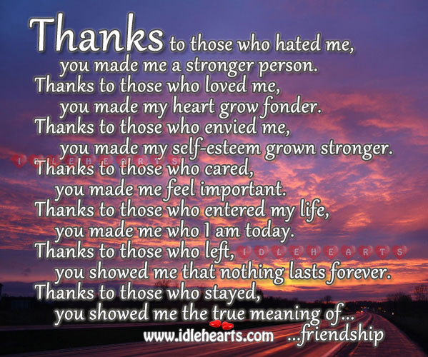 Image, Thanks… You showed me the true meaning of friendship