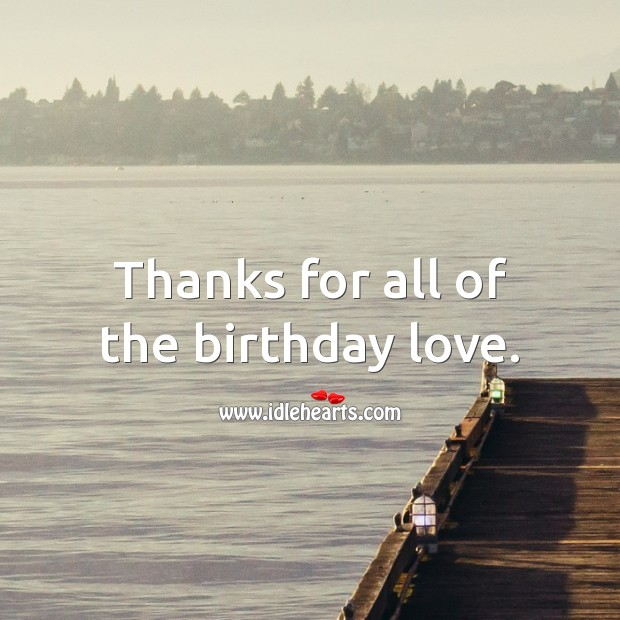 Thanks for all of the birthday love. Thank You for Birthday Wishes Image