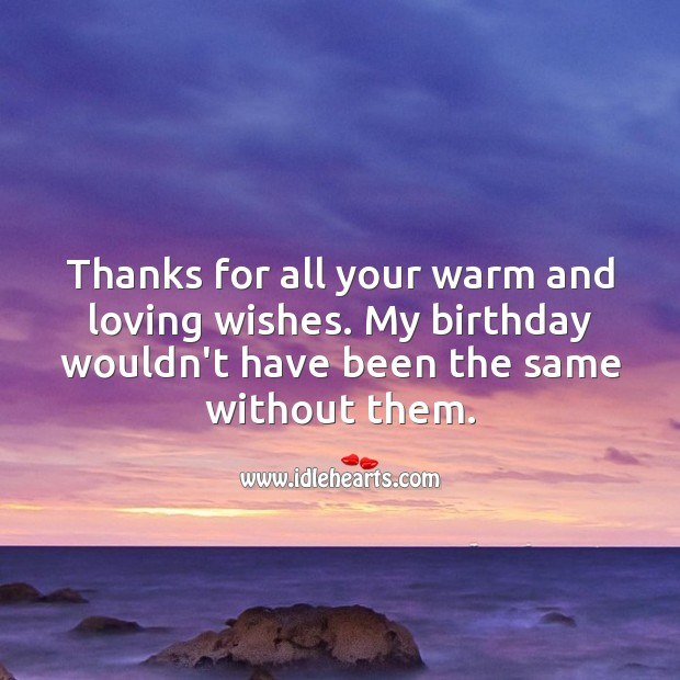 Thanks for all your warm and loving wishes. Thank You for Birthday Wishes Image
