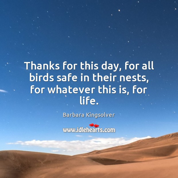 Thanks for this day, for all birds safe in their nests, for whatever this is, for life. Image