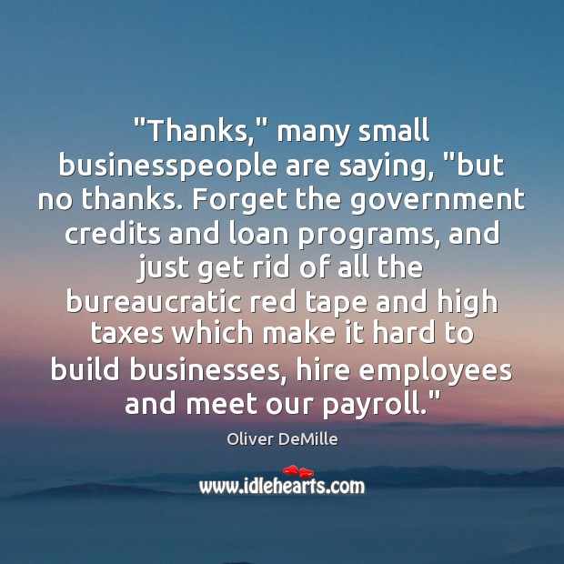 """""""Thanks,"""" many small businesspeople are saying, """"but no thanks. Forget the government Image"""