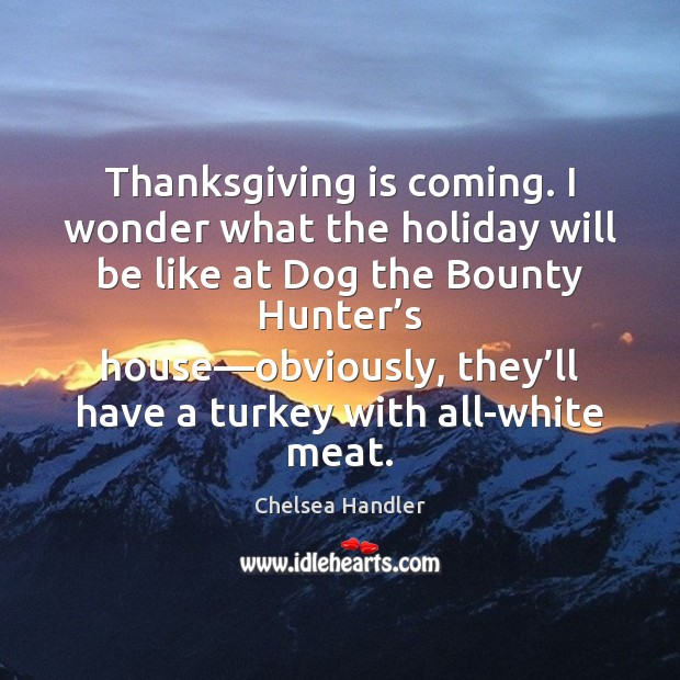 Thanksgiving is coming. I wonder what the holiday will be like at Chelsea Handler Picture Quote