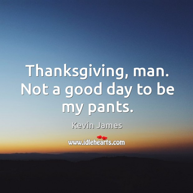 Thanksgiving, man. Not a good day to be my pants. Kevin James Picture Quote