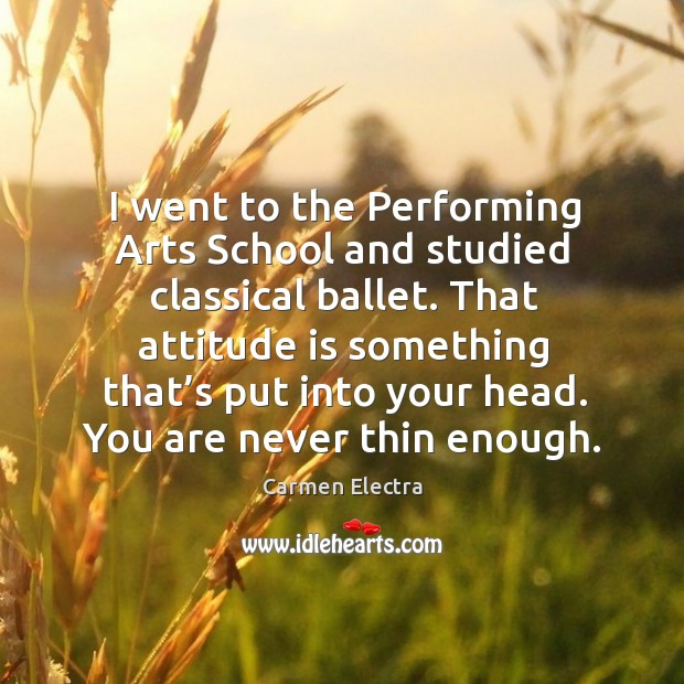 Image, That attitude is something that's put into your head. You are never thin enough.