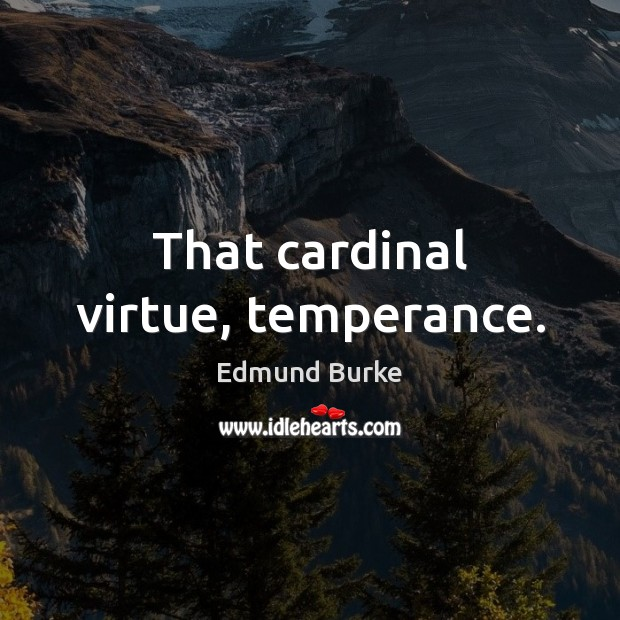 That cardinal virtue, temperance. Edmund Burke Picture Quote