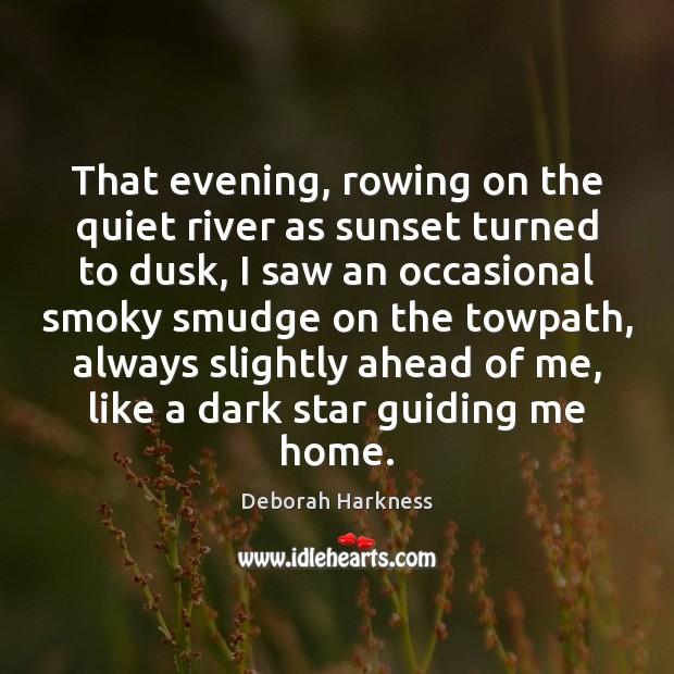 That evening, rowing on the quiet river as sunset turned to dusk, Image