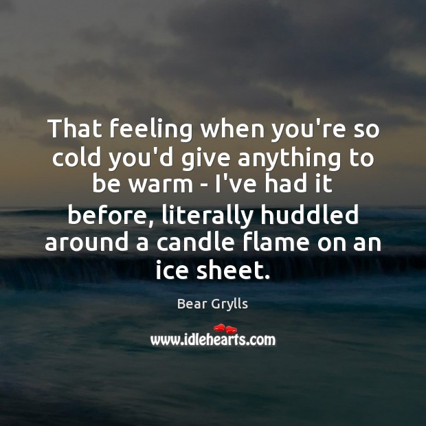 That feeling when you're so cold you'd give anything to be warm Bear Grylls Picture Quote