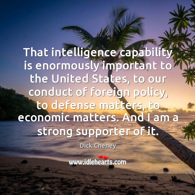 That intelligence capability is enormously important to the United States, to our Image