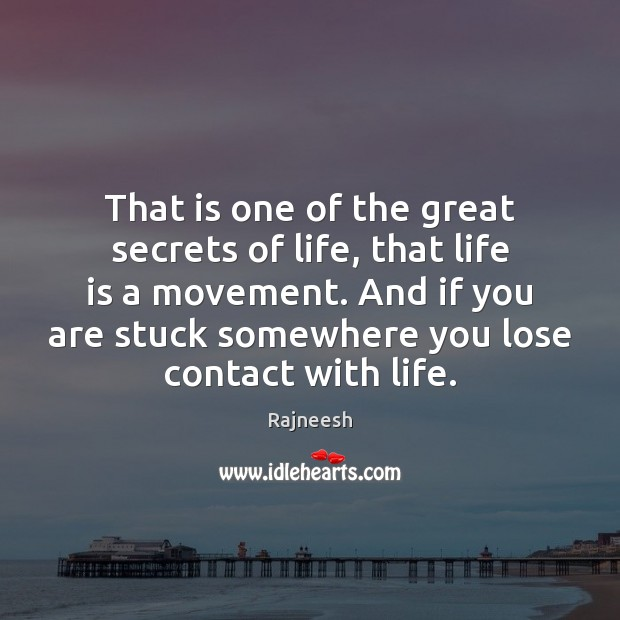 That is one of the great secrets of life, that life is Rajneesh Picture Quote