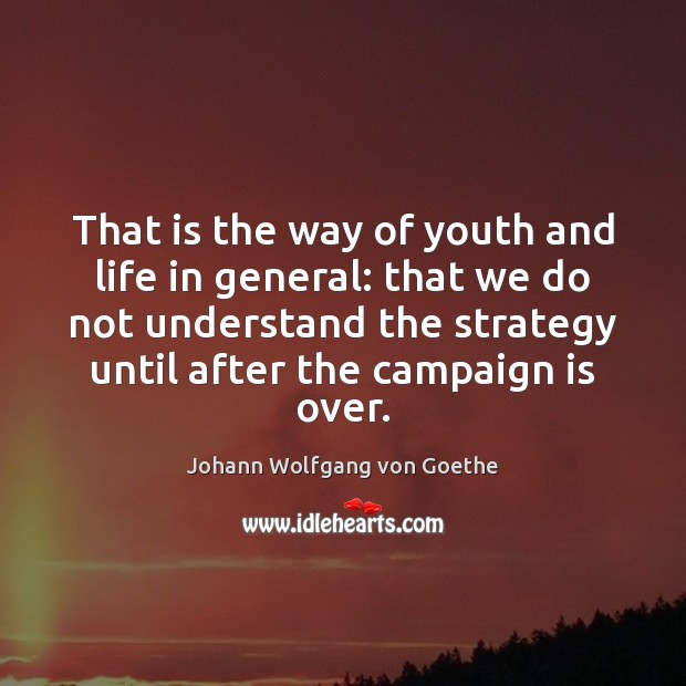 That is the way of youth and life in general: that we Johann Wolfgang von Goethe Picture Quote