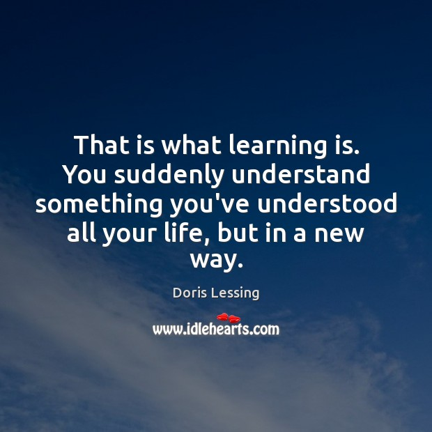 That is what learning is. You suddenly understand something you've understood all Doris Lessing Picture Quote
