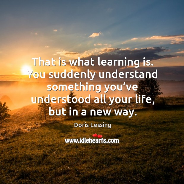 That is what learning is. You suddenly understand something you've understood all your life, but in a new way. Doris Lessing Picture Quote