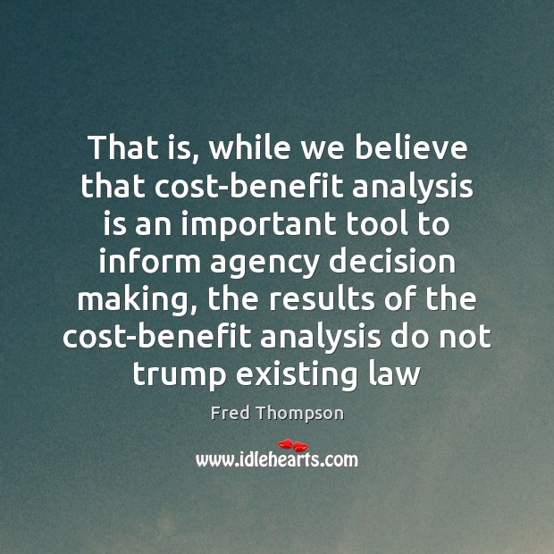 That is, while we believe that cost-benefit analysis is an important tool Image