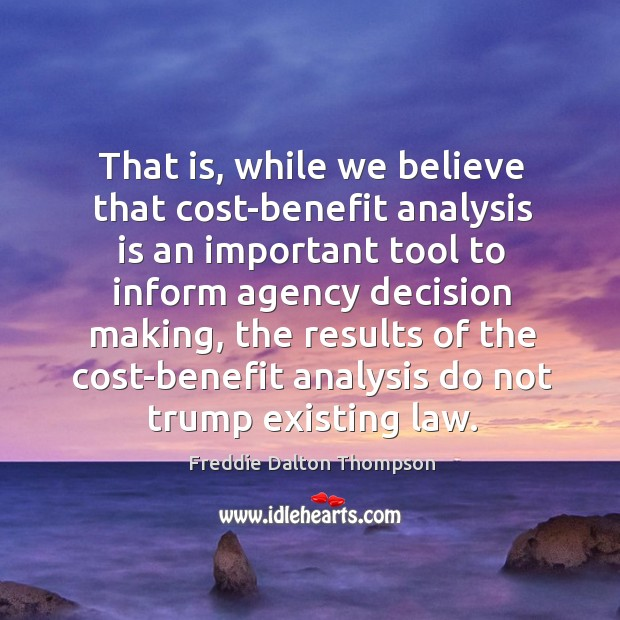 Image, That is, while we believe that cost-benefit analysis is an important tool to inform agency decision making