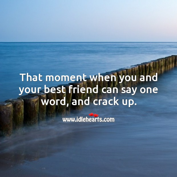 That moment when you and your best friend can say one word, and crack up. Best Friend Quotes Image